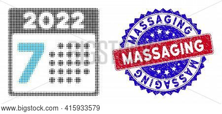 Dot Halftone 2022 Year 7th Day Icon, And Massaging Textured Stamp Seal. Massaging Stamp Uses Bicolor