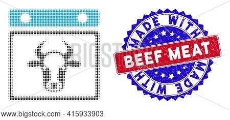 Pixelated Halftone Bull Calendar Leaf Icon, And Made With Beef Meat Unclean Seal. Made With Beef Mea