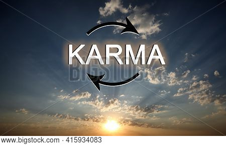 Karma Concept. View Of Beautiful Sky At Sunrise