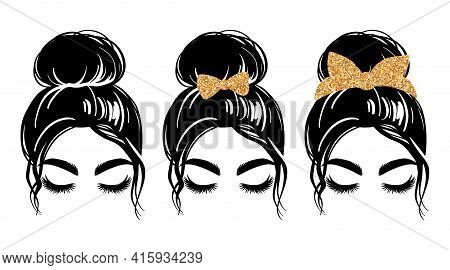 Messy Bun With Golden Glitter Bandana Or Headwrap And Hair Bow. Vector Woman Silhouette. Beautiful G