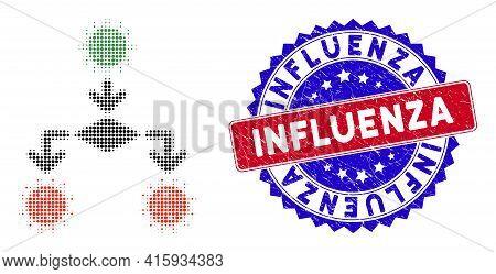 Pixel Halftone Coronavirus Replication Icon, And Influenza Stamp Seal. Influenza Stamp Seal Uses Bic