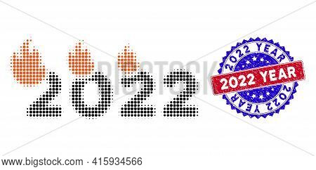 Dot Halftone Fired 2022 Year Icon, And 2022 Year Scratched Stamp Seal. 2022 Year Stamp Seal Uses Bic