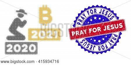 Dot Halftone Gentleman Pray Bitcoin 2021 Icon, And Pray For Jesus Scratched Seal. Pray For Jesus Sea