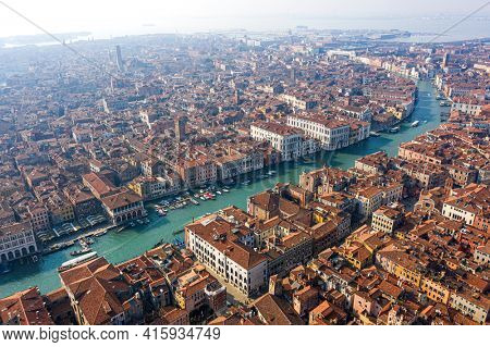 Venice, Grand canal from the sky, aerial view, Italy