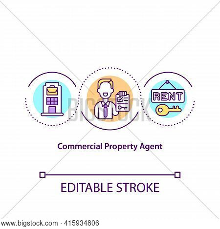 Commercial Property Agent Concept Icon. Middleman Between Owners And Office Buyers Idea Thin Line Il