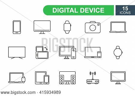 Smart Devices And Gadget Line Icons. Devices And Electronics Line Pictograms. Mobile Phone, Smart Wa
