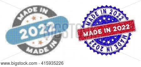 Dotted Halftone Made In 2022 Stamp Icon, And Made In 2022 Unclean Stamp. Made In 2022 Stamp Uses Bic