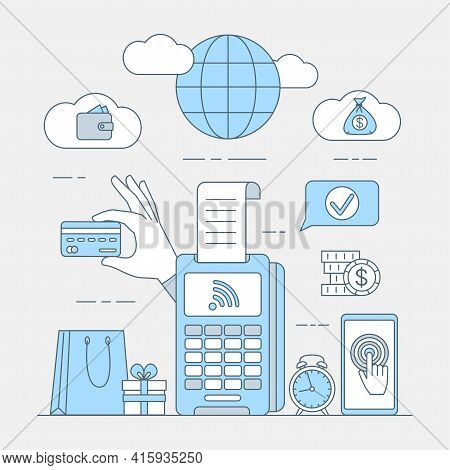 Online Shopping And Contactless Payment Vector Cartoon Outline Illustration. Acquiring Payment, Wire