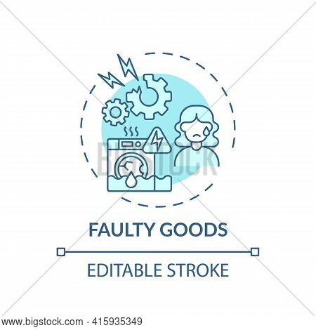 Faulty Goods Concept Icon. Consumer Claim Idea Thin Line Illustration. Unsatisfactory Quality. Damag