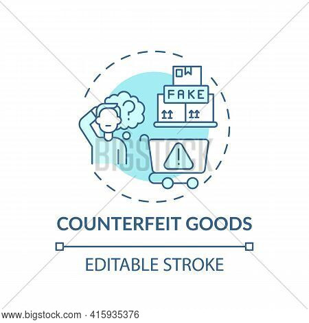 Counterfeit Goods Concept Icon. Typical Consumer Rights Violation Claim Idea Thin Line Illustration.