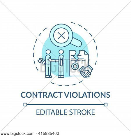 Contract Violations Concept Icon. Consumer Claim Idea Thin Line Illustration. Imbalance In Parties R