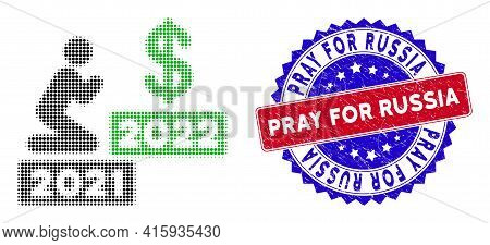 Dot Halftone Man Pray Dollar 2022 Icon, And Pray For Russia Stamp Print. Pray For Russia Watermark U