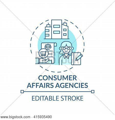 Consumer Affairs Agencies Concept Icon. Consumer Protection Service Idea Thin Line Illustration. Cli