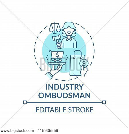 Industry Ombudsman Concept Icon. Consumer Protection Service Idea Thin Line Illustration. Resolving