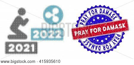 Pixelated Halftone Man Pray Ripple 2022 Icon, And Pray For Damask Unclean Rubber Seal. Pray For Dama