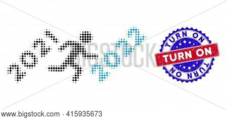 Dotted Halftone Man Run To 2022 Icon, And Turn On Rubber Seal. Turn On Seal Uses Bicolor Rosette Sha