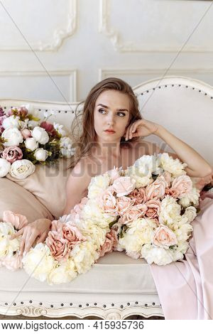 Beauty, Fashion. Wedding Style. Portrait Of A Beautiful Bride Young Woman In An Elegant Pink Dress O