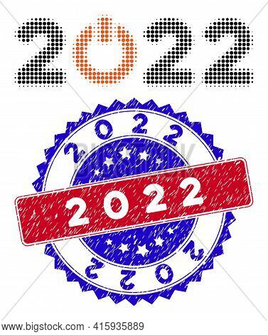 Pixel Halftone Start 2022 Caption Icon, And 2022 Rubber Seal. 2022 Seal Uses Bicolor Rosette Templat