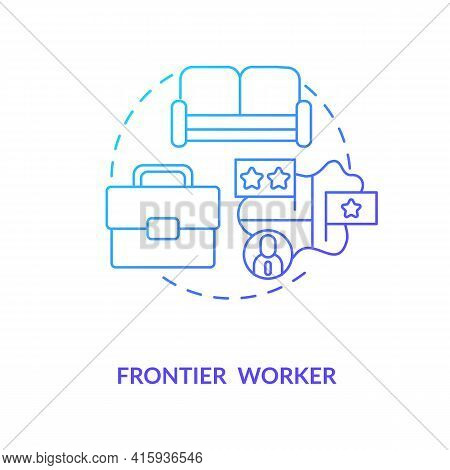Frontier Worker Blue Gradient Concept Icon. Cross Border Work. Job Abroad. Immigrant Employee Type.