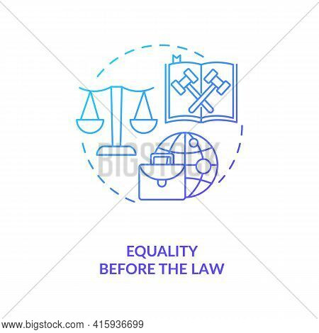 Equality Before The Law Blue Gradient Concept Icon. Legislation, Court Justice.attorney Defense. Mig