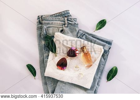 Women's Fashion Flat Lay With Beautiful Stylish Clothes And Accessories On White Background. Top Vie