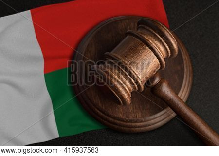 Judge Gavel And Flag Of Madagascar. Law And Justice In Madagascar. Violation Of Rights And Freedoms.