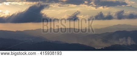 Sunset And Mountains At Guatape In Antioquia, Colombia