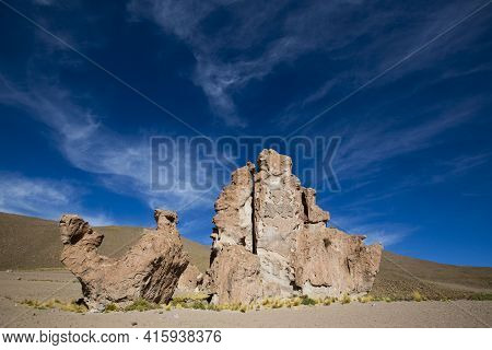 Rock Formation With Shape Of A Camel With Blue Sky, Bolivia