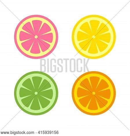 Citrus Slices, Including Orange, Lemon, Grapefruit And Lime, Isolated On White Background