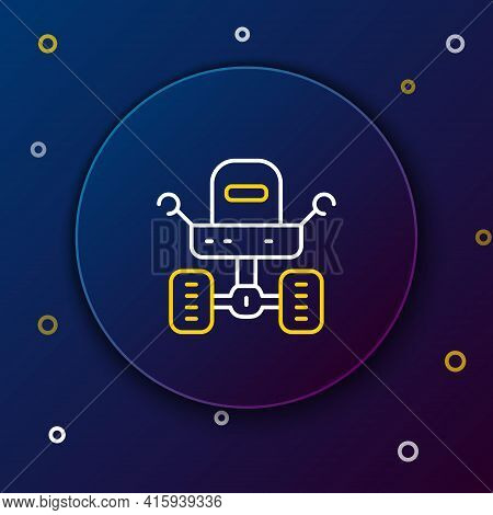 Line Mars Rover Icon Isolated On Blue Background. Space Rover. Moonwalker Sign. Apparatus For Studyi
