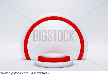 Minimal Scene With Red Podium Isolated On White Background. Geometric Shapes. Minimal 3d Rendering.