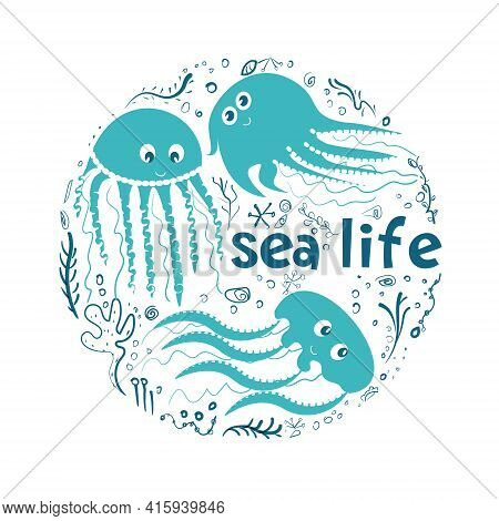 Set On The Theme Of Marine Life, Vector Simple Illustration Of Marine Life In The Style Of Hand Draw