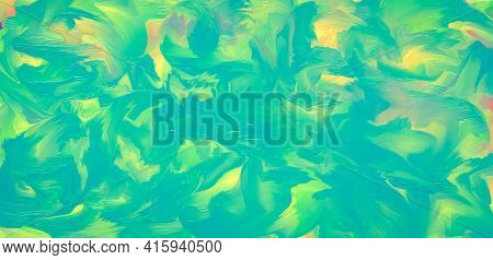 Abstract Sea-green Background, Ink Texture, Multicolored Painted Art Canvas. Summer Aqua Color, Vibr