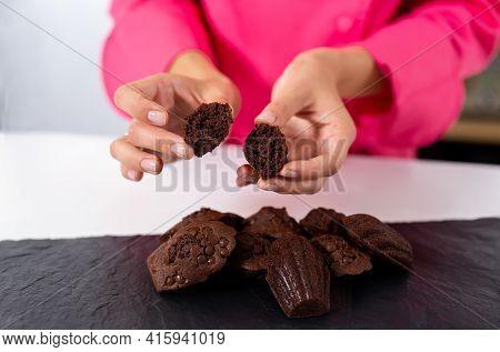 Madeleine With Chocolate, Fresh. Fresh Bakery. Pastry Chef Girl Demonstrates Dessert