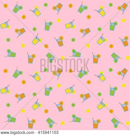 Citrus Juices In Blue Glasses With Striped Straws And Citrus Slices, Seamless Pattern On Pink Backgr