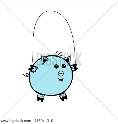 Blue Vector Piggy Fat Boy Jumping Rope On A White Background