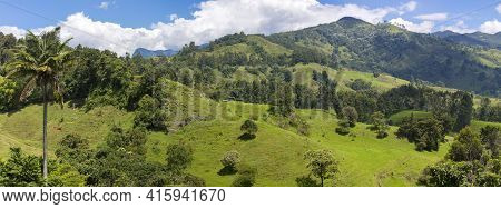 Scenic Landscape And Mountain In Salento Countryside, Colombia