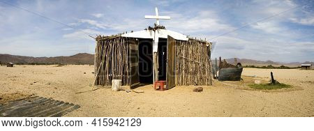Sesfontein, Namibia, Dec 18: Panorama Of Poor Wooden Church Located In The Town Of Sesfontein, Namib