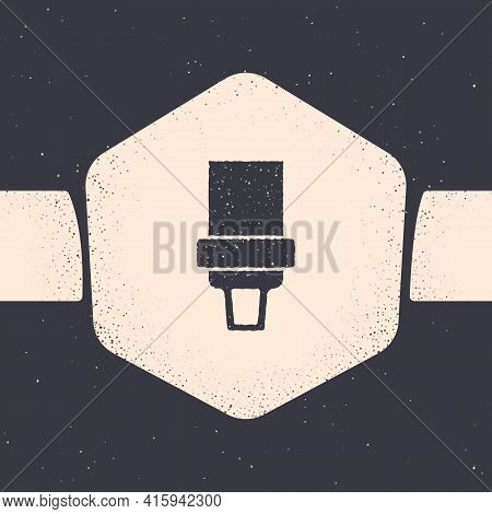 Grunge Safety Belt Icon Isolated On Grey Background. Seat Belt. Monochrome Vintage Drawing. Vector