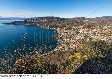 Garda Town And The Lake Garda Seen From Above, Tourist Resort View From The Rocca Di Garda, Small Hi