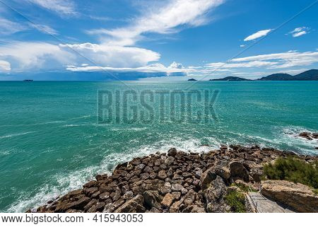 Beautiful Seascape In The Gulf Of La Spezia With Storm Clouds On Horizon In Front Of The Ancient Vil