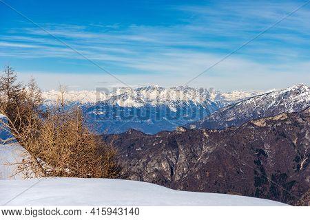 Mountain Range Of The Brenta Dolomites (dolomiti Di Brenta) And The Adamello In Winter, Frome The Le