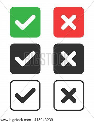Check Mark Icons Set. Tick And Cross Symbols. Buttons With Checkmark And Cross. Marks Isolated On Wh