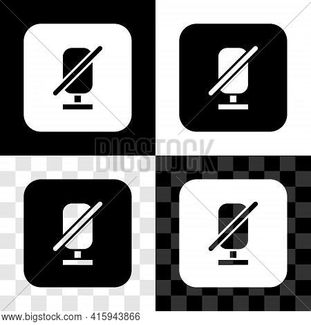 Set Mute Microphone Icon Isolated On Black And White, Transparent Background. Microphone Audio Muted