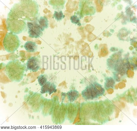 Texture Tie Dye. Artistic Psychedelic Pattern. Abstract Painting. Green Tie-dye Roll. Swirl Style. H