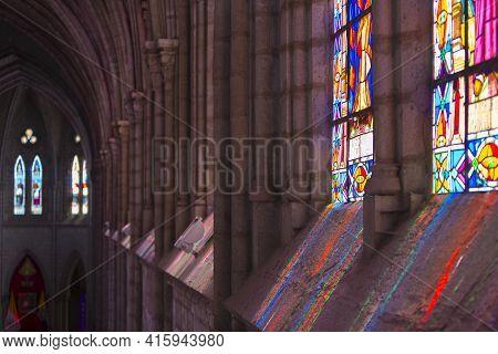 Quito, Ecuador, February 24: Interior Of The Basilica Del Voto Nacional, Light Reflections From The