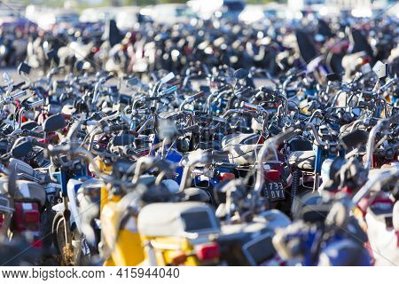 San Juan, Argentina, December 4: Huge Motorbikes And Scooters Parking At The Exit Of San Juan. These