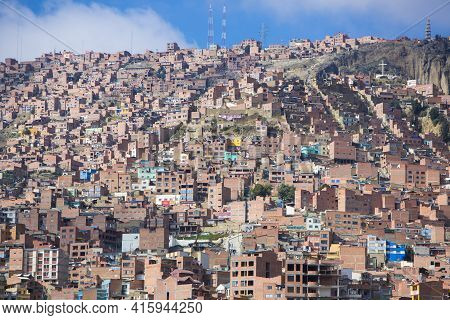 La Paz, Bolivia, January 4: Aerial View Of La Paz During The Day, Capital Of Bolivia. Downtown Of Th