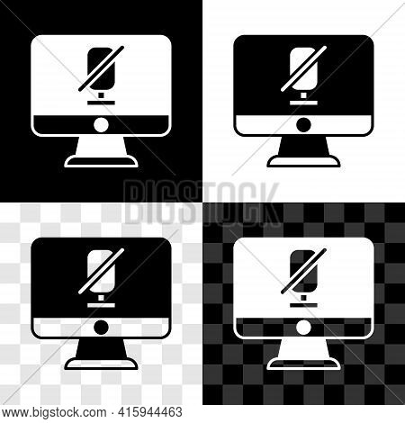 Set Mute Microphone On Computer Icon Isolated On Black And White, Transparent Background. Microphone