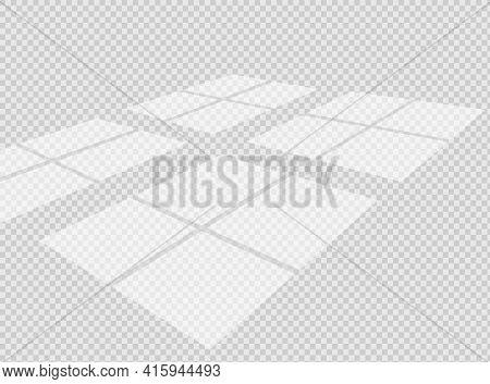 Overlay Shadow Effect. Transparent Window Overlay On The Floor. Realistic Light Effect Of Shadows An